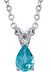 Stunning 1.05ct 7x5mm Pear Blue Zircon Pendant or Necklace expertly set in 14 karat White Gold for SALE