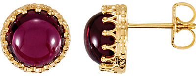 Stunning 1.8ct 8.00 mm Rhodolite Garnet Crown Design Cabochon Button Earrings for SALE - 14k Yellow Gold