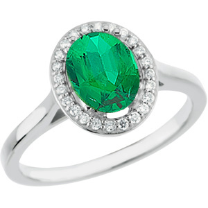 Stunning 1 carat 7.00 x 5.00 mm GEM Genuine Columbian Emerald set in White Gold Designer Ring for SALE
