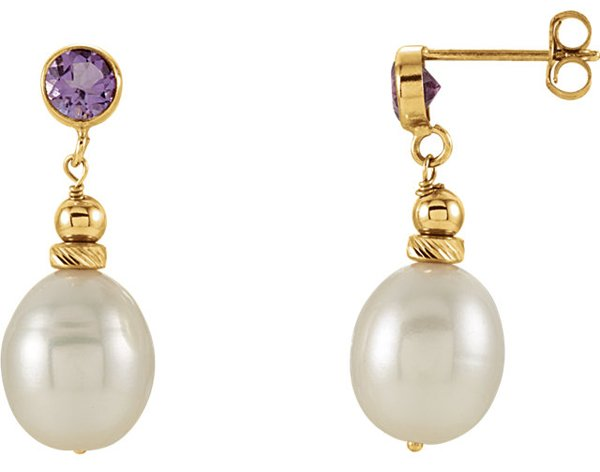 Stunning 14k Yellow Gold .48ct 4mm Round Amethyst & 8-8.5mm Pearl Dangle Earrings