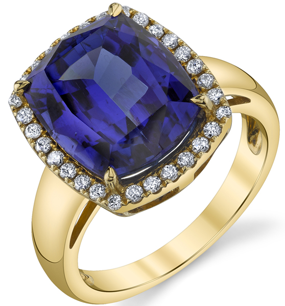 Stunning 18kt Yellow Gold Handmade 7.70ct Cushion Tanzanite Halo Ring