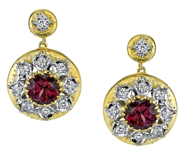 Stunning 4.47 Round Rose Zircon Dangle Earrings with Diamond Accents - 18kt White & Yellow Gold