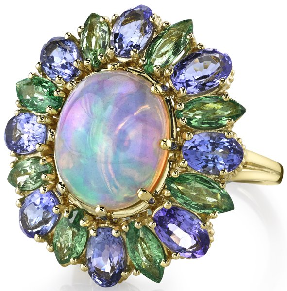 Stunning 5.21ct Oval Opal Flower Ring With Marquise Tsavorite & Oval Tanzanite Petals - 18kt Yellow Gold