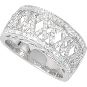 Stunning .5ct Diamond Anniversary Band with Cross Style Patterns