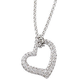 Stunning .5ct Pave Diamond Open Heart Pendant in 14k White Gold for SALE - FREE Chain