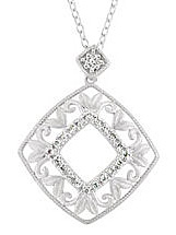 Stunning Accessory! - Gorgeous Open Square Sterling Silver Pendant With Leafy Patterns and .1ct Diamond Accents - FREE Chain Included With Pendant