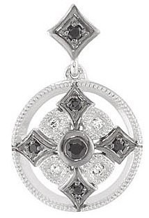 Stunning Black Spinel and Diamond Decorated Medallion Pendant in 14k White Gold for SALE - FREE Chain With Pendant - SOLD