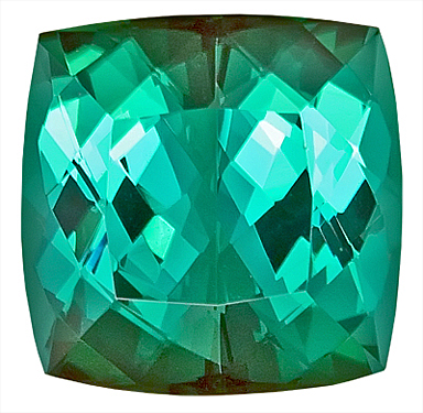 Stunning Blue-Green Tourmaline Natural Gemstone on SALE,  Antique Cushion Cut, 14 x 13.9 mm, 15.09 carats