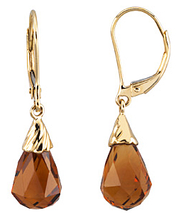 Stunning Checkerboard Madeira Citrine 4.3ct 12x8mm Briolette Lever-back Earrings set in 14 karat Yellow Gold for SALE - SOLD