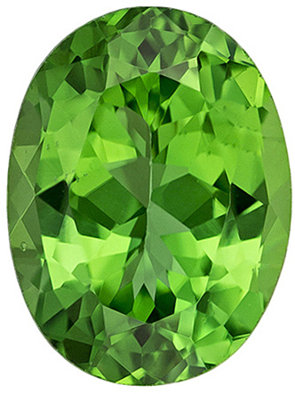 Stunning Chrome Green Tourmaline Loose Gemstone in Oval Cut in 8.1 x 6.1 mm, 1.36 carats