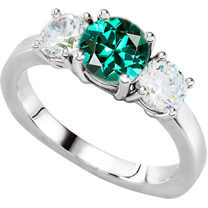 Stunning Color! - 3-Stone Engagement Ring With Round Blue Green Tourmaline Center & Round Diamond Side Gems - SOLD