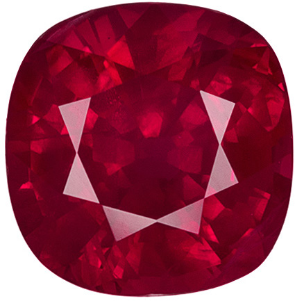Stunning Cushion Shape Ruby Loose Gem in Vivid Rich Red Color, 6.2 x 6.1 mm, 1.23 carats
