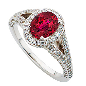 Stunning Diamond Pave Ring set with Extraordinary Fine Quality 7x5mm Oval 1 carat Ruby Stone for SALE