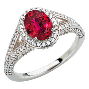 Low Price on Diamond Pave Ring set with  Low Price on Quality 7x5mm Oval 1 carat Ruby Stone for SALE