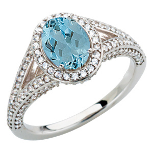 Low Price on Diamond Pave White Gold Ring set with .85ct 7x5mm GEM BLUE Genuine Aquamarine for SALE