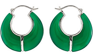 Stunning Dyed Green 20.00 x 8.00 mm, 4.2 ct Agate Hoop Earrings skillfully set in Sterling Silver for SALE