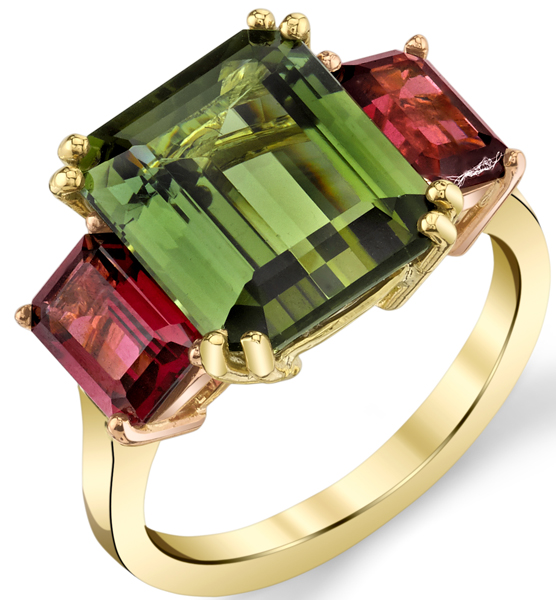 Stunning Emerald Cut Green Tourmaline & Garnet 3-Stone Ring in 18kt Yellow& Rose Gold