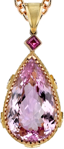 Stunning Feminine Chic 39 carat Pink Kunzite Gemstone Hand Made Pendant in 18kt Yellow & Rose Gold - Mulberry Garnet Accents
