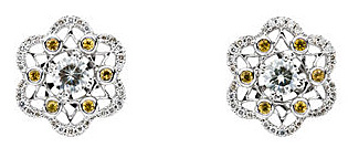 Stunning Flower Style Post Back Earrings With .58ct 4.50 mm Moissanite Center & Yellow Sapphire & Diamond Accents for SALE - 14k White Gold