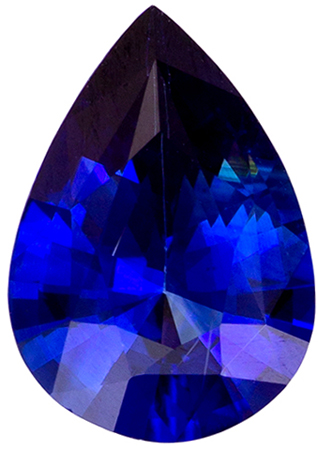 Stunning Gem in 0.55 carats Sapphire Loose Gemstone in Pear Cut, Intense Blue, 6.9 x 4.8 mm