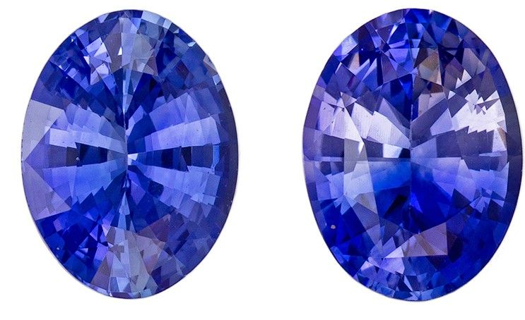 Stunning Gem in 2.73 carats Sapphire Loose Gemstone Pair in Oval Cut, Rich Blue, 8 x 6 mm