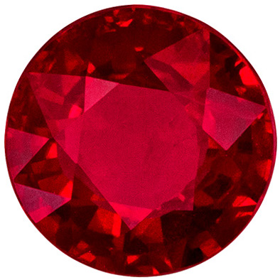 Stunning Gem in 6.4 mm Ruby Genuine Gemstone in Round Cut, Open Red, 1.37 carats