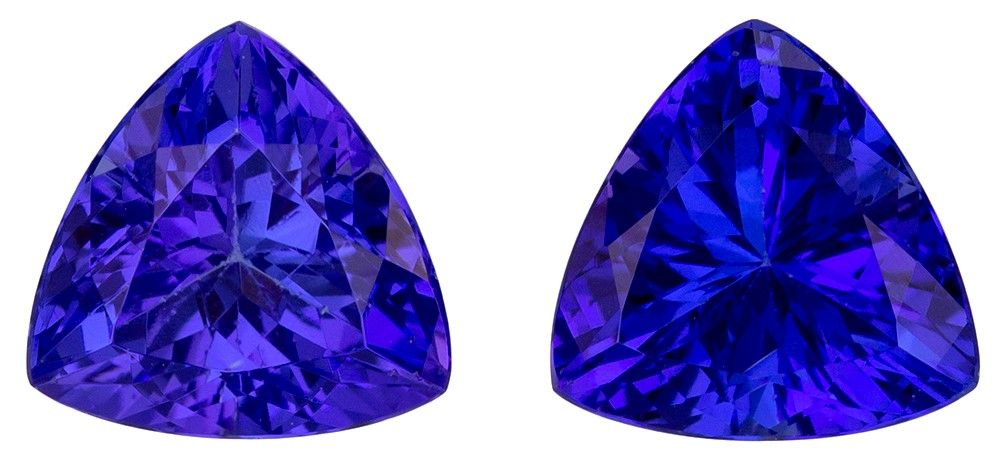 Stunning Gem in 7.1 mm Tanzanite Loose Genuine Gemstone Pair in Trillion Cut, Rich Blue Purple, 2.57 carats