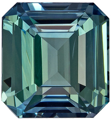 Stunning Gem in Blue Green Sapphire Emerald Cut, 2.02 carats, 6.9 x 6.4 mm