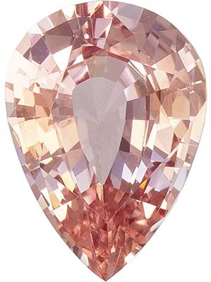Very Popular Color in 1.09 carat Peach Sapphire, Pear Cut, 8.0 x 5.7 mm