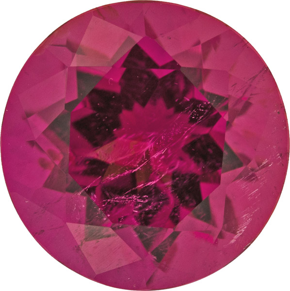 Stunning Gem Red Tourmaline Round German Cut, Pinkish Deep Red Color in 12.20 mm, 6.78 carats