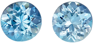 Stunning Gems in Blue Aquamarine Matched Pair of Round Cut, 2.0 carats, 6.9 mm