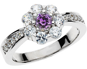 Stunning Genuine .25ct GEM Grade 4.00 mm Round Alexandrite & Large Diamond Cluster Ring in 14 kt Gold
