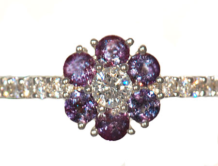 Stunning Genuine AAA Grade 0.65cts 3mm Alexandrite & Diamond Cluster Ring in 18 kt White Gold