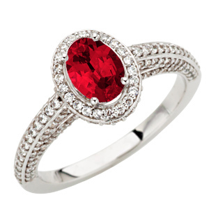 Stunning Genuine GEM Quality Oval Cut 1 carat 7x5mm Ruby Mounted in Gorgeous Pave Diamond Ring for SALE