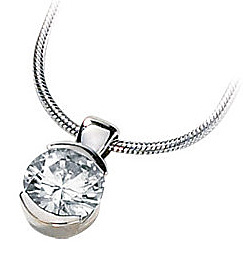 Stunning Half Bezel Set Round Solitaire Pendant With Created Moissanite Gem - Metal Type & Stone Size Options
