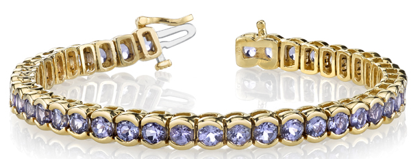 Stunning Half Bezel Set Tanzanite Tennis Bracelet in 14kt Yellow Gold - Hand Crafted - 12.07ctw