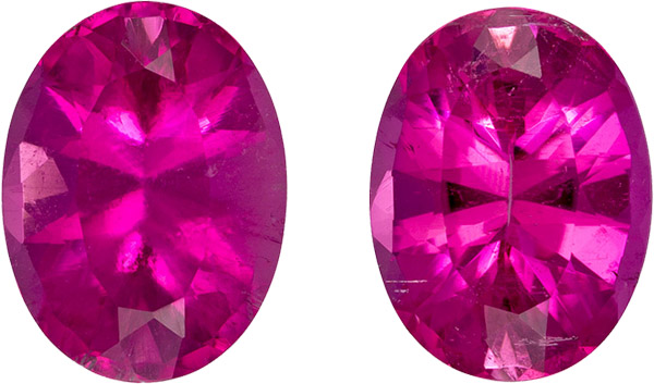 Stunning Hot Pink Tourmaline Matched Pair in Oval Cut, No Heat Gems in 10.1 x 7.5 mm, 4.74 carats