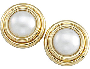 Stunning Large 15mm Mab? Cultured Pearl Earrings set 14 karat Yellow Gold