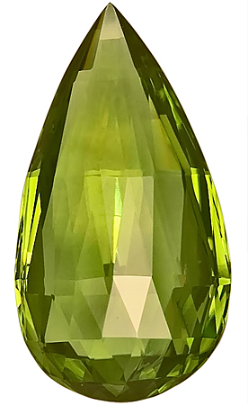 Stunning, Large Size Pakistani Peridot Green Gemstone, Briolette Cut, 27 x 4 mm, 21.68 carats