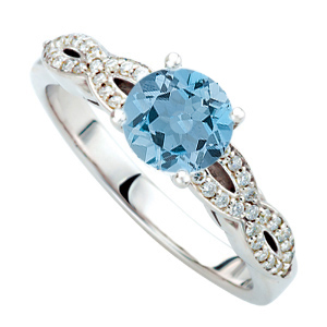 Stunning Lone Deep Blue Aquamarine 1ct 6mm Round Gem Perfectly set in Double Shank Diamond Ring in 14 kt Gold