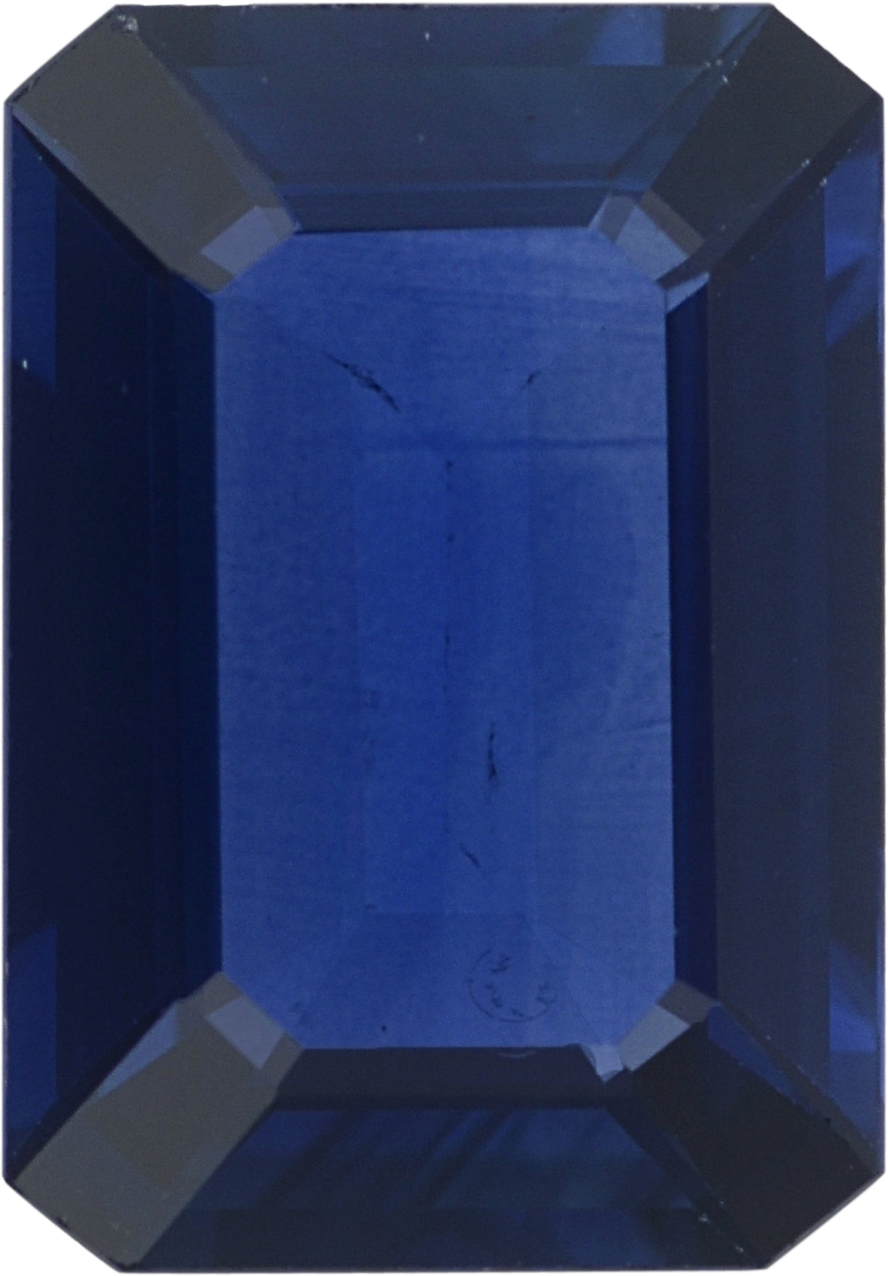 Stunning Loose Blue Sapphire Gem in Emerald Cut, Violetish Blue, 7.05 x 4.91 mm, 0.93 carats