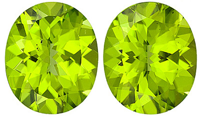 Stunning Matched Paired Peridot Loose Gems, Oval Cut, 9.89 carats