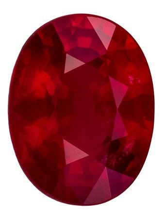 Faceted Loose 1.58 carats Ruby Loose Gemstone in Oval Cut, Rich Red, 7.8 x 6 mm