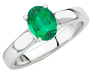 Stunning Quality Large Oval Genuine 1 carat 7x5mm Emerald set in Contemporary Solitaire White Gold Mounting for SALE