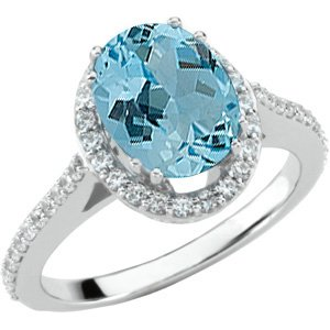 Stunning Real Aquamarine Jewelry with 3ct 10x8mm GEM Aquamarine Stone Mounted in 14kt White Gold Ring on SALE