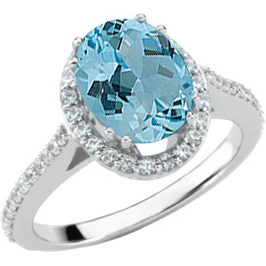 Low Price on Real Aquamarine Jewelry with 3ct 10x8mm GEM Aquamarine Stone Mounted in 14 KT White Gold Ring on SALE