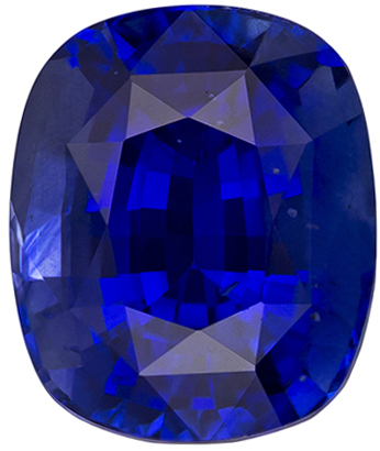 Stunning Rich Color Blue Sapphire Loose Genuine Gem in Excellent Cushion Cut in 8.8 x 7.4 mm, 3.35 carats