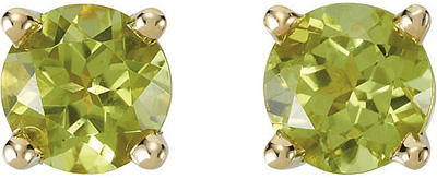 Stunning  1.1ct 5mm Round AAA Grade Peridot Gemstone Stud August Birthstone Earrings for SALE - 14k White or Yellow Gold
