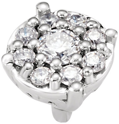 Stunning Round Diamond Cluster Preset Peg Jewelry Finding With Heart Decorations At The Base in 14kt White Gold  1/8ctw Diamond Accents