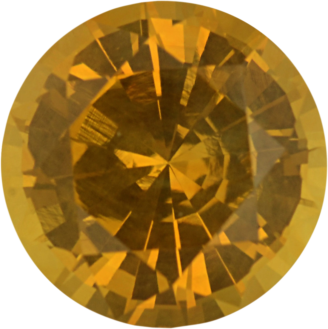 Stunning Sapphire Loose Gem in Round Cut, Light Orangy Yellow, 6.64 mm, 1.38 Carats